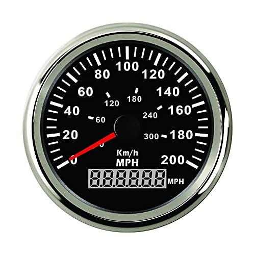 HUILING September Department Store Auto Apto for Coche mph GPS Odómetro de velocímetro 16 0 mph 200 mph Calibrador de Velocidad con retroiluminación 9 32V (Color : 200MPH-BS)