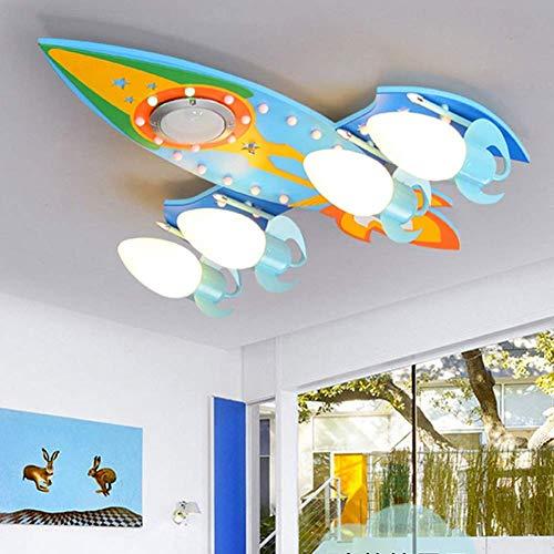 GaLon plafondlamp voor kinderen (Bluetooth-muziekfunctie), 4 ledlampen van glas, moderne lampenkap van karton voor jongens, slaapkamer, werkkamer