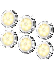 AMIR ledセンサーライト 室内 人感センサー 乾電池式 led ライトライト 明暗センサー 小型 マグネット テープ付き 階段車庫 フットライト 天井照明 6個セット 銀色 …