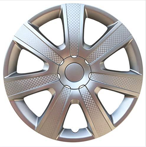 EET Carbon Look Set Tapacubos 14/15 Pulgadas Ajuste Universal para La Mayoría De Los Vehículos, Conjunto De 4,Color Opcional (Plata Mate/Negro Mate),Matte Silver,15 Inches