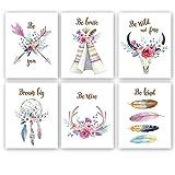 KAIRNE 6er Set Premium Poster Set,Blumen Wandbild für