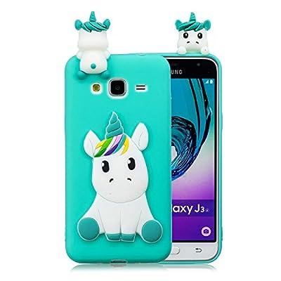 EuCase Funda para Samsung Galaxy Grand Prime Silicona Suave Flexible Carcasa Samsung G530 3D Ultra Delgado Goma TPU Antigolpe Caso Patrón de Animales Cubierta Protección Bumper Case Unicornio Verde