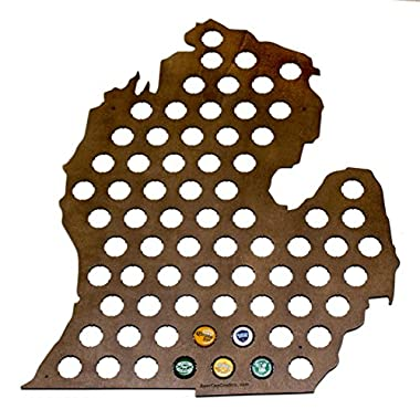 Michigan Beer Cap Map - Holds Craft Beer Bottle Caps - Lower Peninsula