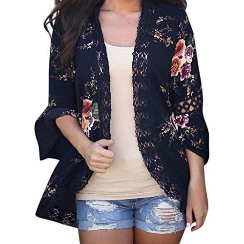 MRULIC Damen Florale Kimono Cardigan Boho Chiffon Sommerkleid Beach Cover up Leicht Tuch für die Sommermonate am Strand oder See (M, Marineblau)