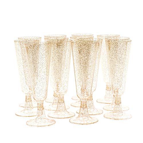 100 Flute da Champagne Plastica multiuso con Glitter Dorati, 150ml - Elegante, Resistente, multiuso o Riutilizzabile - Bicchieri Prosecco per Feste Ma