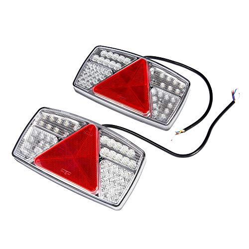 ETUKER 2PCS Pilotos LED Remolque, 10~30V Impermeable Universal Piloto Trasero Remolque Luces de Freno Traseras, Para Camión/RV/Caravana/Luces Remolque Traseras(53 Chips LED-1Par)