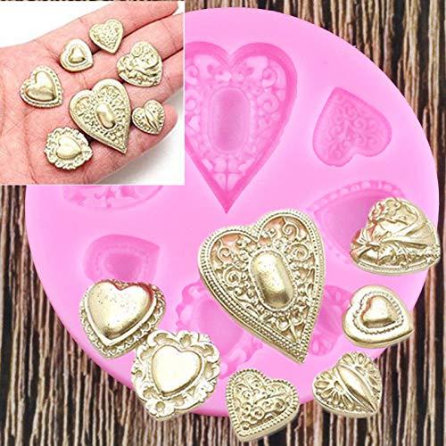 UNIYA Moldes de Silicona de Diamantes en Forma de corazón de Boda DIY, Herramientas de decoración de Pasteles con Fondant de Piedras Preciosas, moldes de Chocolate y Caramelo de Arcilla