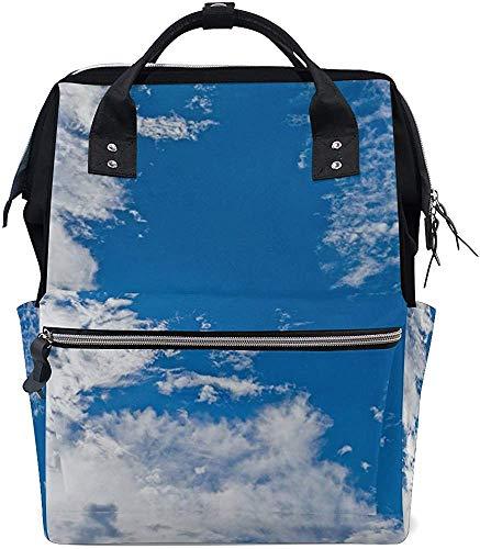 College Bag blauwe hemel en witte wolken baby mummiesrugzak verzorging moeder waterdichte luiertas grote capaciteit mummiezak rugzak print Dad stijlvolle luiertassen Mu