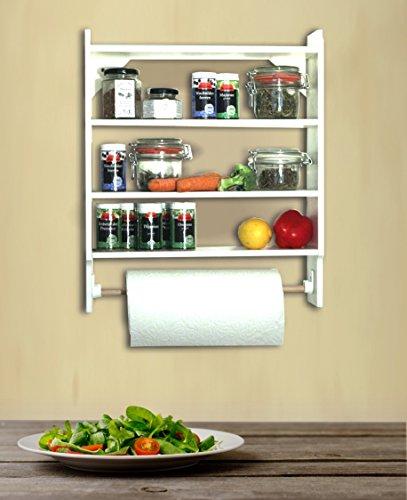 Wand Küchenrollenhalter, Tassenregal oder Gewürzregal im Landhausstil, Shabby Chic, weiss, Holz