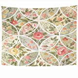 Ahawoso Wall Hanging Tapestries 80x60 Inch Backdrop Pattern Blossom Yellow Square Roses Abstract Pink with...