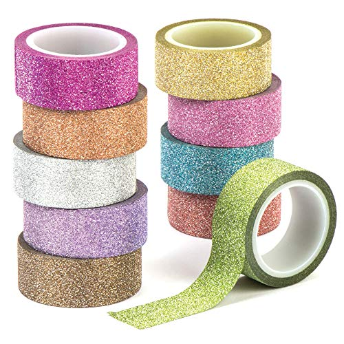 Baker Ross Glitzer-Klebeband – Kreatives Bastelmaterial für Kinder für weihnachtliche Bastelarbeiten und Dekorationen (10 Stück)