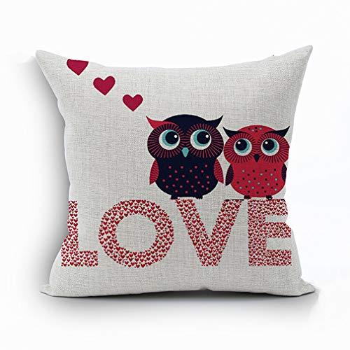Funda de almohada de algodón para parejas, diseño de búhos, color rosa