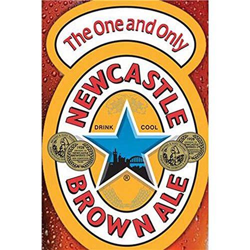 FlowerBeads Vintage Lustige Metallschilder, Gasöl-Retro-Eisenschild für Café-Bar, dekorativer Wandaufkleber, New Castle Brown Ale, 20 x 30 cm