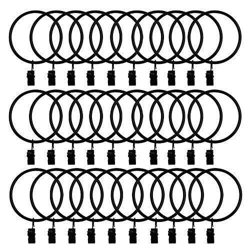 30 Pack Strong Iron Metal Curtain Rings with Clips 2.5 Inch Diameter, Decorative Drapery Rustproof Curtain Rod Clip Ring, Durable Vintage Drapery Hooks with Clips (30PCS Black)