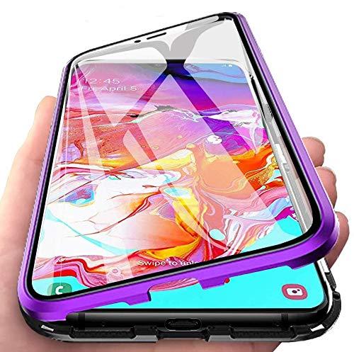 Funda para Samsung Galaxy S21 Plus 5G / S21+ 4G Carcasa, Adsorción Magnética Parachoques de Metal con 360 Grados Protección Case Transparente Ambos Lados Vidrio Templado Cubierta Cover, púrpura