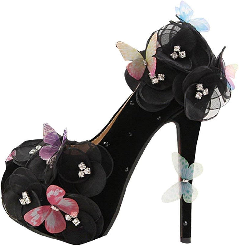 Qiusa Damen Slip-on versteckte Plattform Spitze Blaumen Schmetterling schwarz Satin Abend Hochzeit Pumps UK 8 (Farbe   -, Größe   -)  | Elegant und feierlich