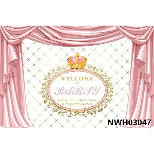 Rosa Azul Dorado Cortina recién Nacido bebé Ducha niño niña Princesa cumpleaños telón de Fondo fotografía de Vinilo A40 9x6ft / 2,7x1,8 m