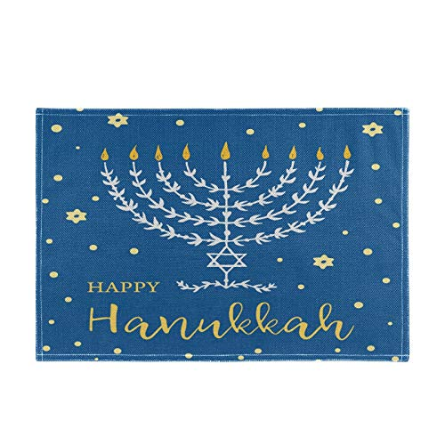 vvfelixl Happy Hanukkah Menorah with Lettering Stars Set of 1 Placemat 18'X12' Table Mats Cloth Kitchen Linen Sets Linen-Like Heat-Resistant Dining Home Decorations Everyday Use
