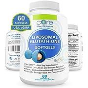 Optimized Liposomal Glutathione SOFTGELS 500mg   NO-TASTE   China-Free Reduced Setria Glutathione with PC Complex 350mg   U.S.A.   NON-GMO, NO-SOY  Supports Immune Function, Liver Detox, Brain Health