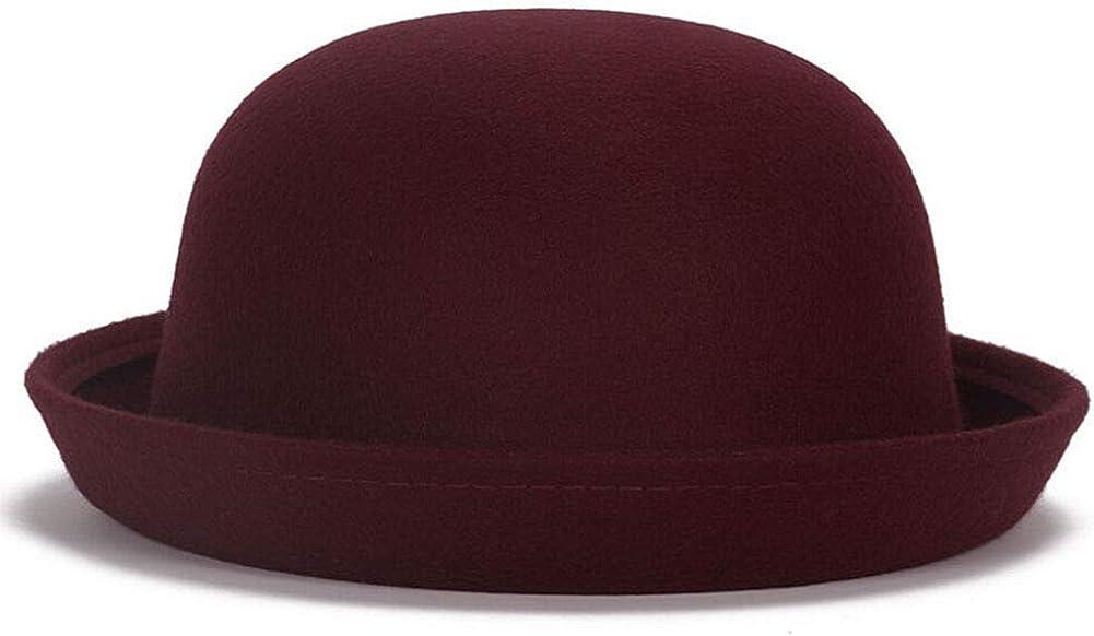 Men Women Woolen Roll-up Brim Fedora Bowler Hat