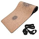 Masdery Cork Yoga Mat Non Slip Naturel Rubber 72'x 24' Body Line High Elasticity 4mm Thick Yoga Mat Upgraded Wear Resistant with Strap Eco Friendly Floor Exercises Portable Hot Yoga Pilates