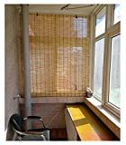 Persianas de bambú Cortina de lámina natural Ciega, tonos de rodillos romanos naturales para ventana / puerta / patio, cortinas a prueba de polvo, protector solar / aislamiento de calor, persianas rom