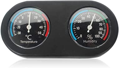 Womdee Dual Thermometer and Humidity Gauge for Reptile, Black