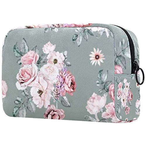 Trousse de toilette portable pour femme avec brosses de maquillage personnalisées - Sac à main - Organisateur de voyage - Fleurs denses et os