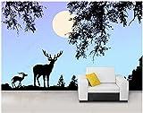 Papel De Pared 3D Tela No Tejida Papel Pintado Paisaje Natural De La Noche De La Luna Del Alce Animal De La Selva Negra Papel Pintado Pared Mural Decorativo Salón Dormitorio 150x105cm
