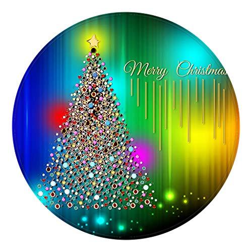 Koojawind Weihnachtsteppich, Runder Weihnachtsdekorationsteppich, KüChentüR Badboden Teppichboden Mattenaufdruck 60Cm, Kinderzimmer Rutschfeste Spielunterlage