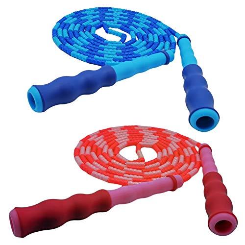 Springseil mit Perlen für Kinder und Erwachsene, extra lang, verstellbar, 2,8 m Länge, viele Farboptionen, ideales Kinder-Springseil für Mädchen und Jungen, Fitness-Springseile (2 Stück) (blau/pink)