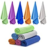 Ailawuu 6 Packs Cooling Towel,Ice Towel,Cool Towel,Chilly Towel for Sports,Yoga,Neck,Golf,Workout,Gym,Fitness,Travel,Camping