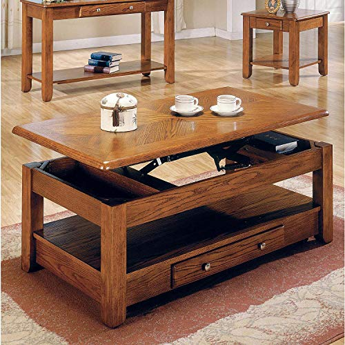 Lift Top Oak Coffee Table with Storage Drawers and Bottom Shelf