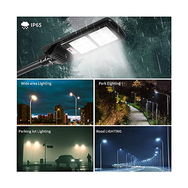 200W Solar Street Lights Outdoor Lamp, 288 LED 10000 Lumen, Light Control, IP65 Waterproof Dusk to Dawn Security Led…