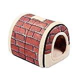 Enko 2 en 1 Cómodo Casa para Mascotas y Sofá, Interiores y Exteriores Portátil Plegable de Cama para Perro/Cama para Gato. Una Casa Caliente para su Mascota.(Medium, Brick Red)