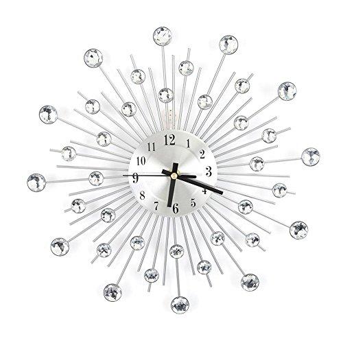 GOTOTOP Orologio da Parete in Metall Diamanti Orologio Stella di Cristallo Decorazione Casa, Orologio con Posate, Orologio da Cucina (33 * 33cm)
