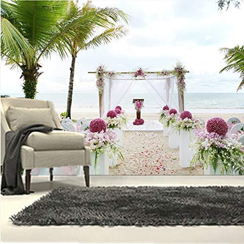 Die benutzerdefinierten 3D-Wandbilder, 3d romantischen Tropen Meer Palma Hochzeit Tapeten, Wohnzimmer Sofa TV Wand Schlafzimmer Tapeten-300 * 250cm