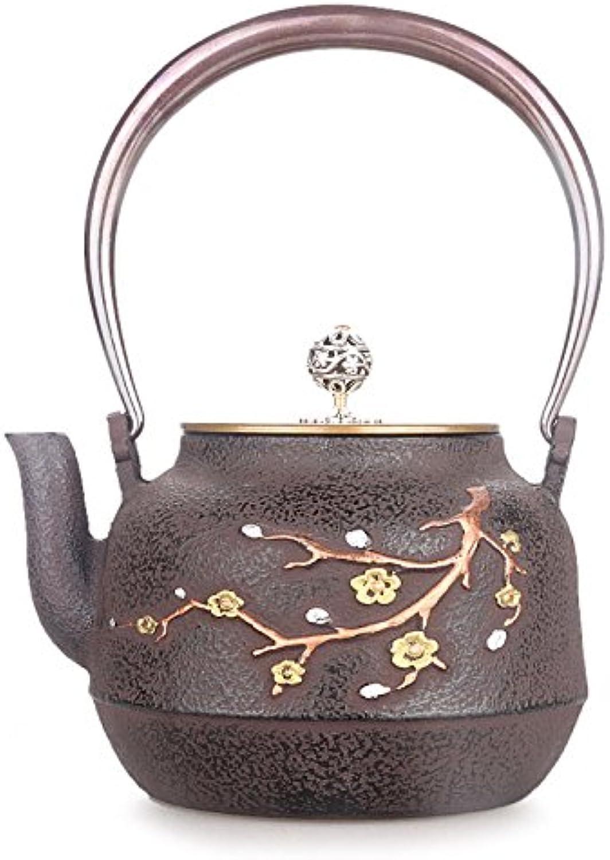 Pots de fonte japonais Merlin Pattern Pure Coque en cuivre sans revêteHommest fait main Théière 1.3L