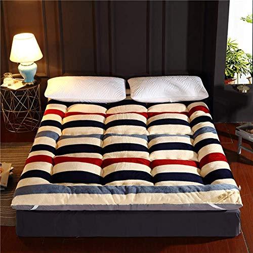 Tatami - Colchón de suelo plegable con acolchado suave y antiescaras para dormir, alfombra para dormir o dormitorio, a rayas, 90 x 200 cm