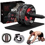 Camfosy Rodillo de entrenamiento abdominal con rueda para abdominales antideslizante, para hombres y mujeres, color negro