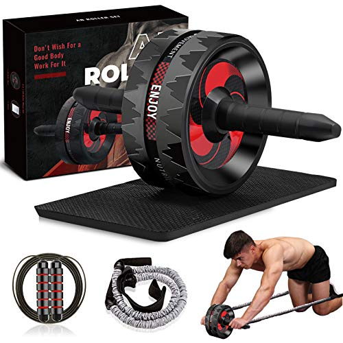 Camfosy Ab Roller Wheel Set, Abs Workout Equipment for Men Abdominal Exercise Equipment Knee Pad Push Up Bars Strength Training Handles Core Workout Machine with Jump Rope Home Gym Office Black F