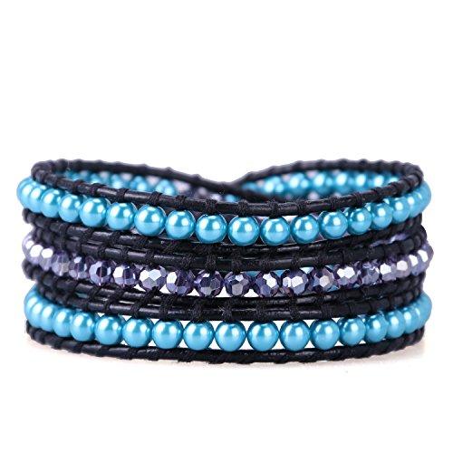 KELITCH Strang Armbänder Zum Frau Männer Blau Nachahmung Perlen Und Lila Kristall Glas Perlen Schwarz Leder Armband