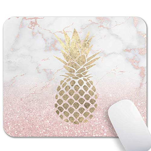 Mechanical Cattle Gaming Mouse Pad - White Pink Marble Rose Gold Pineapple Mouse Pads, Anti-Slip Rubber Base and Waterproof Surface, Mouse Mat Mousepad for Computer, Laptop, Office, Home - Square