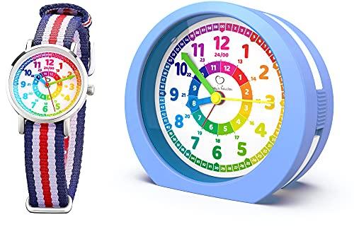 Honey's Heaven Kinderwecker ohne Ticken - für Jungen und Mädchen - Lernwecker Lernuhr Weckuhr Kinderuhr Quarzwecker und Armbanduhr (blau)