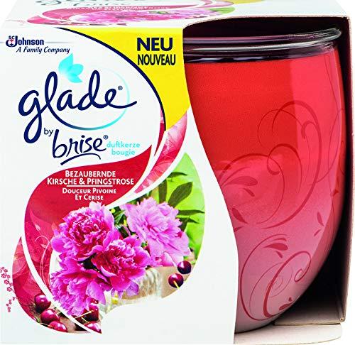 Glade (Brise) Duftkerze bis zu 30 Stunden Brenndauer, Duftkerze im Glas, Luscious Cherry & Peony (Bezaubernde Kirsche & Pfingstrose), 2er Pack (2 x 120 g)
