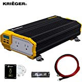 Krieger 2000 Watt 12V Power Inverter, Dual 110V AC Outlets, Installation Kit...