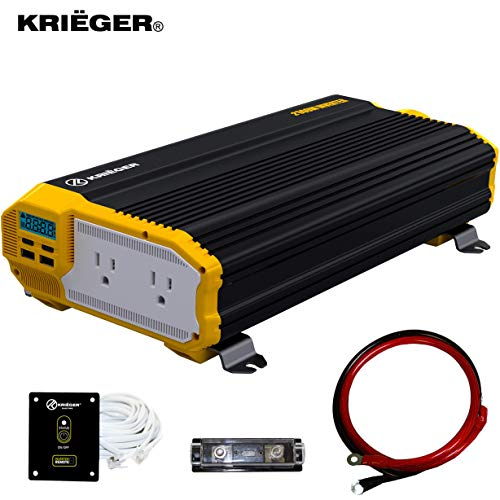 Krieger 2000 Watts Power Inverter 12V to 110V Modified Sine Wave Car Inverter Dual 110 Volt AC Outlets DC to AC Converter with Installation Kit Included  MET Approved to UL and CSA Standards