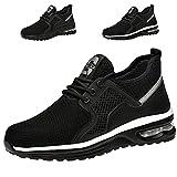 Zapatos de Seguridad Hombre Mujer Ligero Transpirables Zapatillas de Seguridad con Punta de Acero Zapatos de Trabajo(02 Negro,Taille 42)