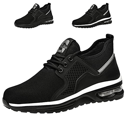Zapatos de Seguridad Hombre Mujer Ligero Transpirables Zapatillas de Seguridad con Punta de Acero Zapatos de Trabajo(02 Negro,Taille 43)