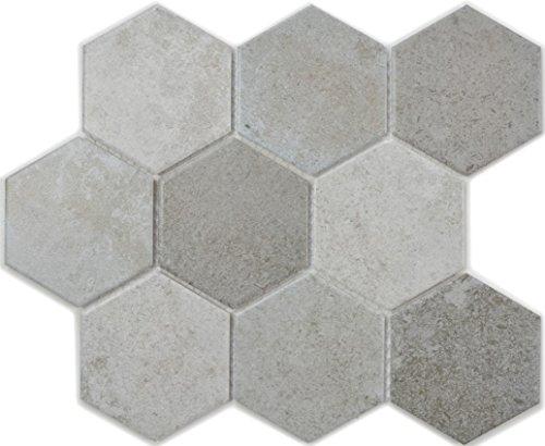 Mosaik Fliese Keramik grau Hexagon Zement für BODEN WAND BAD WC DUSCHE KÜCHE FLIESENSPIEGEL THEKENVERKLEIDUNG BADEWANNENVERKLEIDUNG WB11A-0301